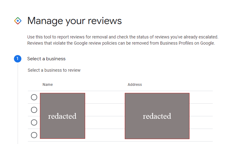 Google Review Management Console GMB select a location